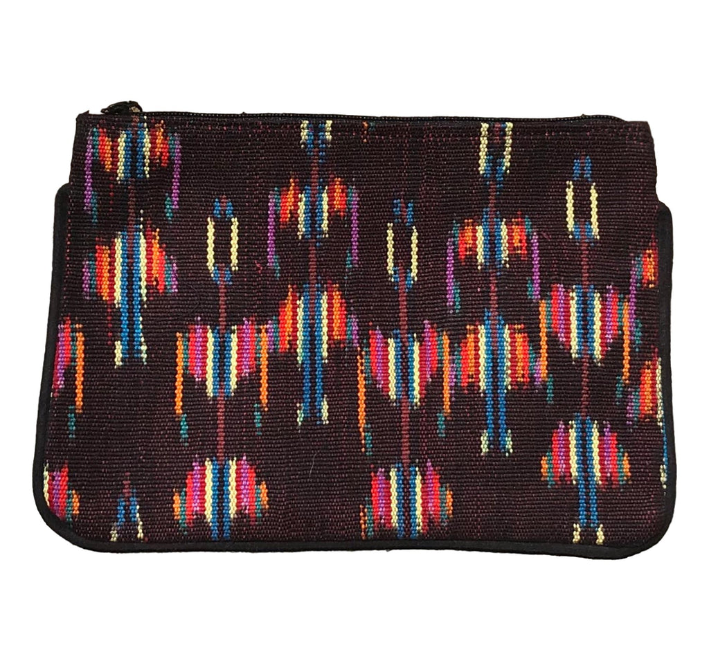 Guatemalan Textile Zip Clutch- Brown/ Multi