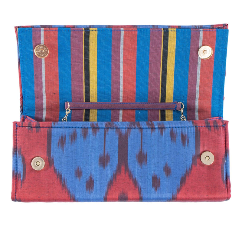 red and blue silk envelope clutch with multi color stripe lining