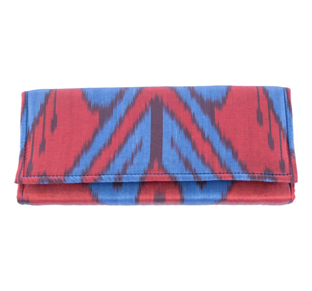 red and blue silk envelope clutch