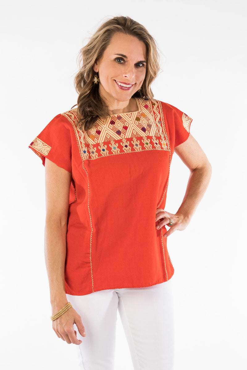 San Andres Mexican Blouse - Orange