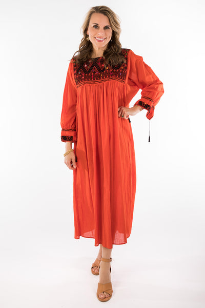 Chiapas Mexican Dress - Burnt Orange