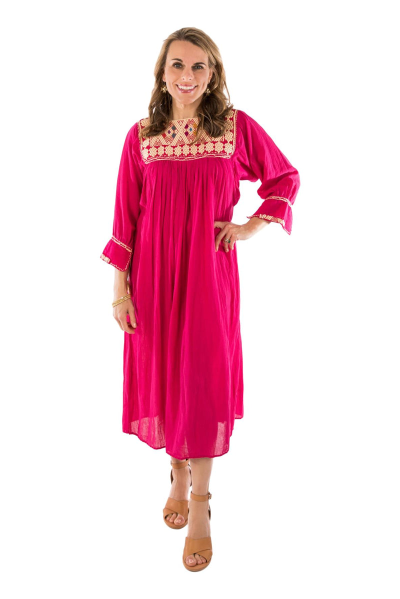 Chiapas Mexican Dress - Fuchsia
