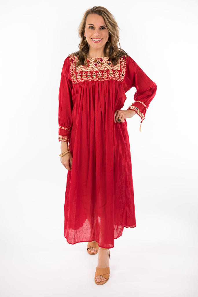 """Chiapas"" Embroidered Dress from Mexico, Red with Multicolored Embroidery"