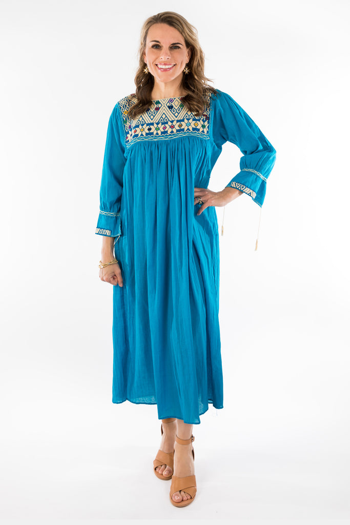 """Chiapas"" Mexican Embroidered Dress, French Blue"