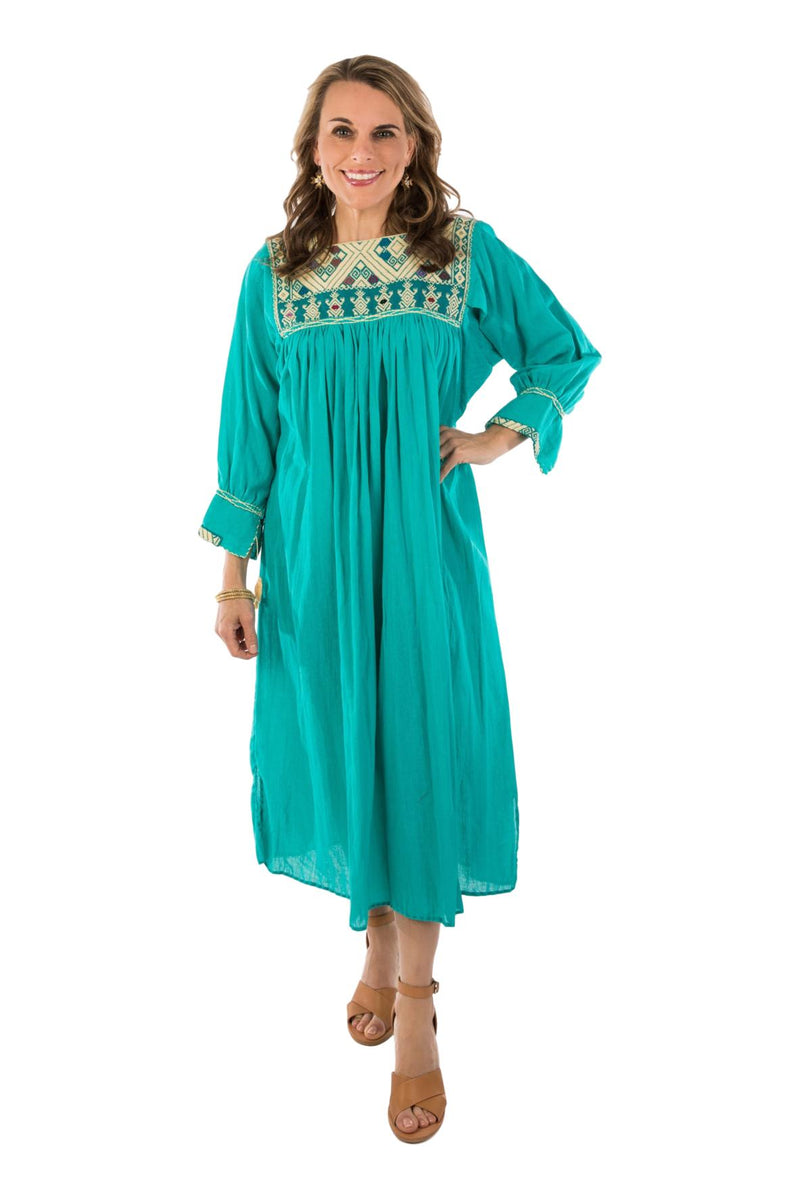 Chiapas Mexican Dress - Teal