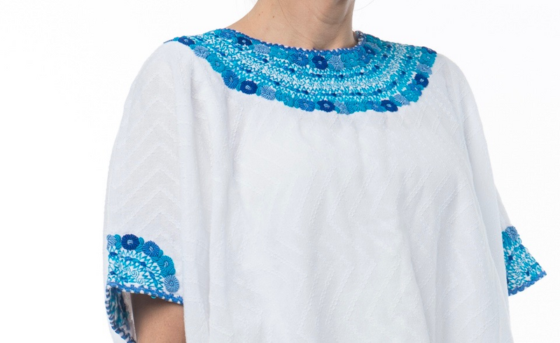 Evelyn Guatemalan Blouse - Blue and Turquoise