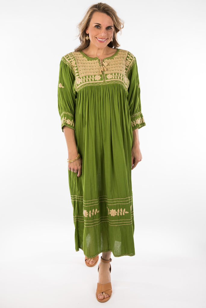 """Colinas"" Mexican Embroidered Dress, Green"