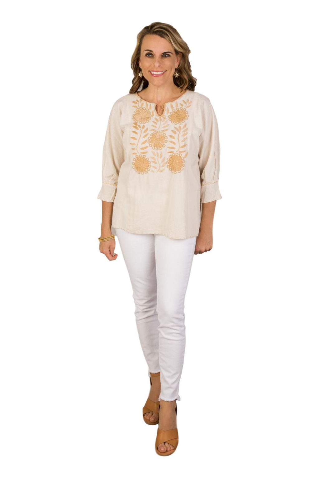 Corzo Mexican Blouse - Neutral
