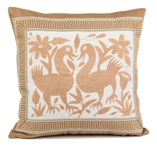 """Sayula"" Otomi Pillow, Beige with Greek Key Tape Trim"