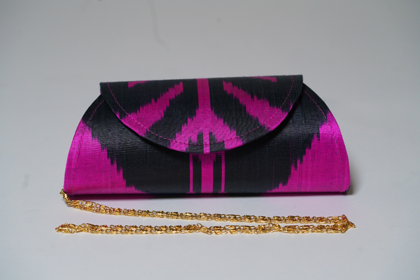 """Endymion"" Silk Ikat Hard Shell Clutch, Small in Brilliant Purple and Black"
