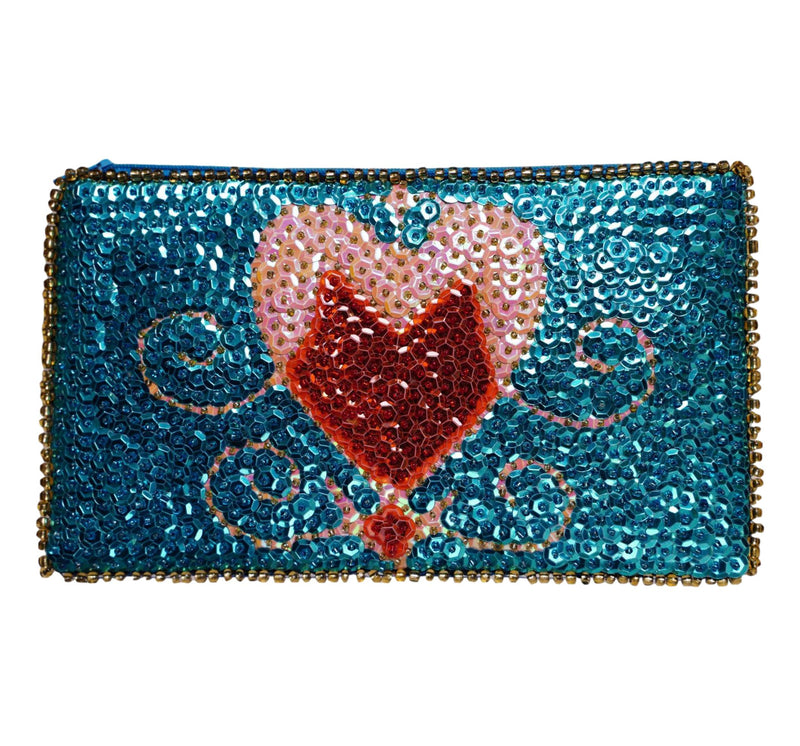 Erzulie Beaded Clutch- Turquoise, Blush, and Red