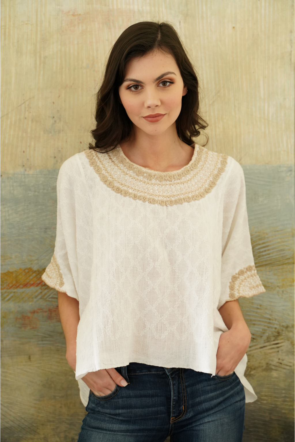 hand woven and embroidered tunic blouse