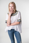 Evelyn Guatemalan Blouse - Grey and Yellow