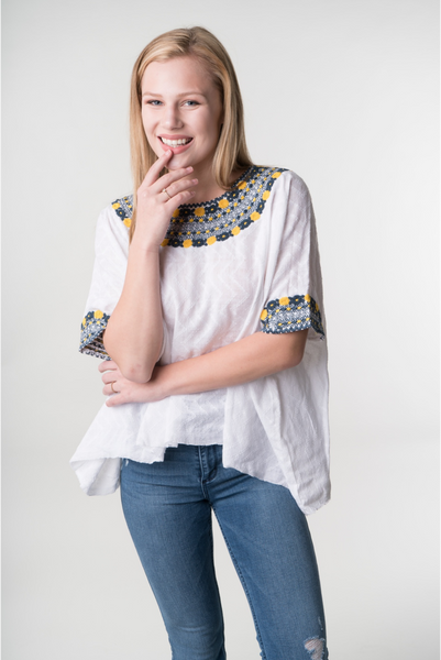 """Evelyn"" Loose Fit, Guatemalan Blouse in Grey and Yellow, Size Small/ Medium"