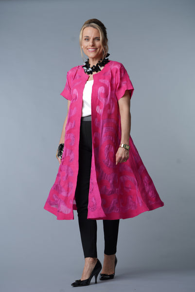 Felted Wool/ Silk  Coat from Kyrgyszstan, Fuschia - Swing Coat