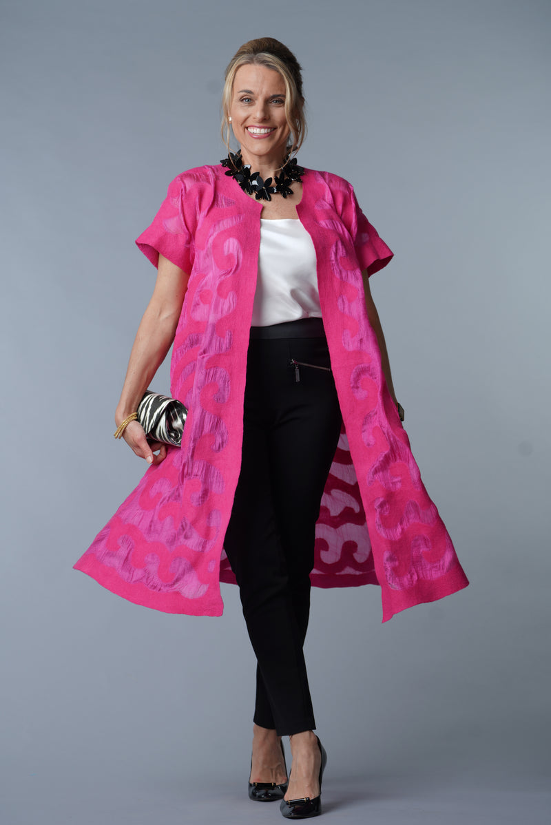 Felted Wool Swing Coat - Fuschia