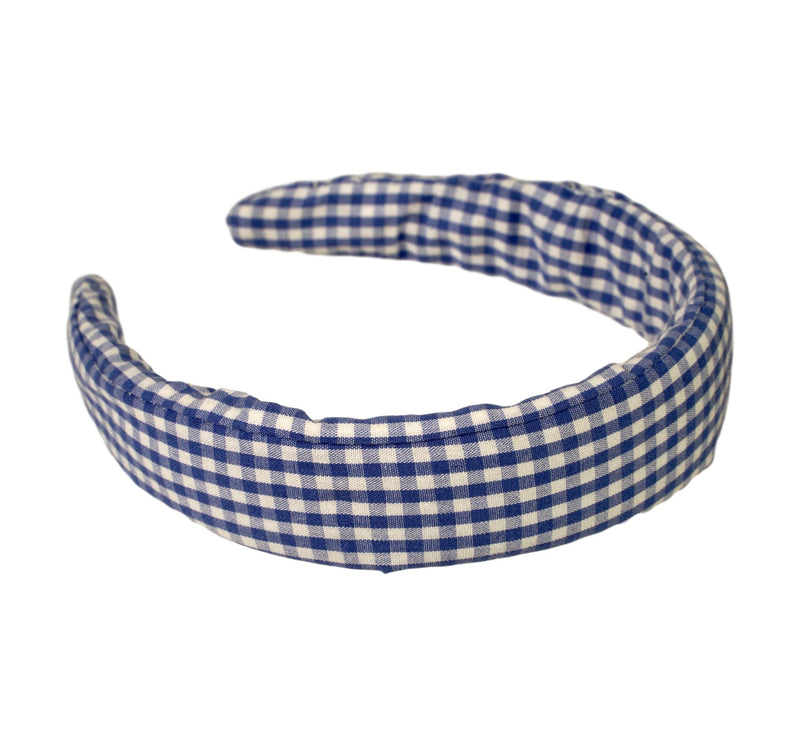 blue and white gingham headband on solid, padded headband form perfect for school