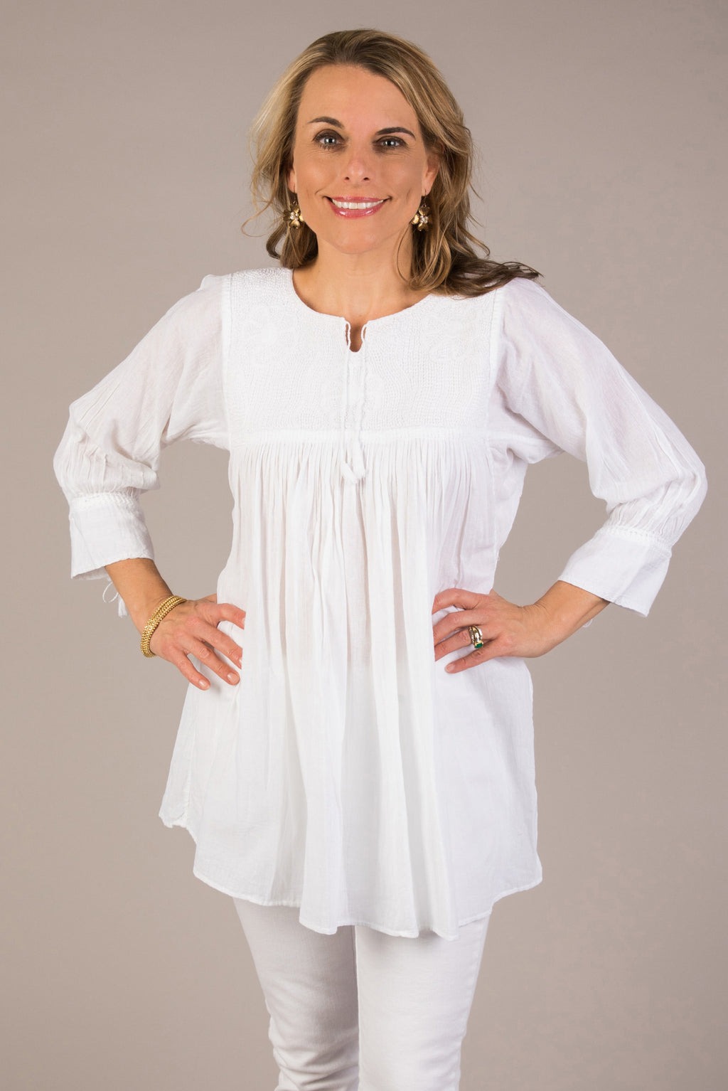 white on white embroidered women's blouse from Mexico hand crafted 3/4 length sleeve