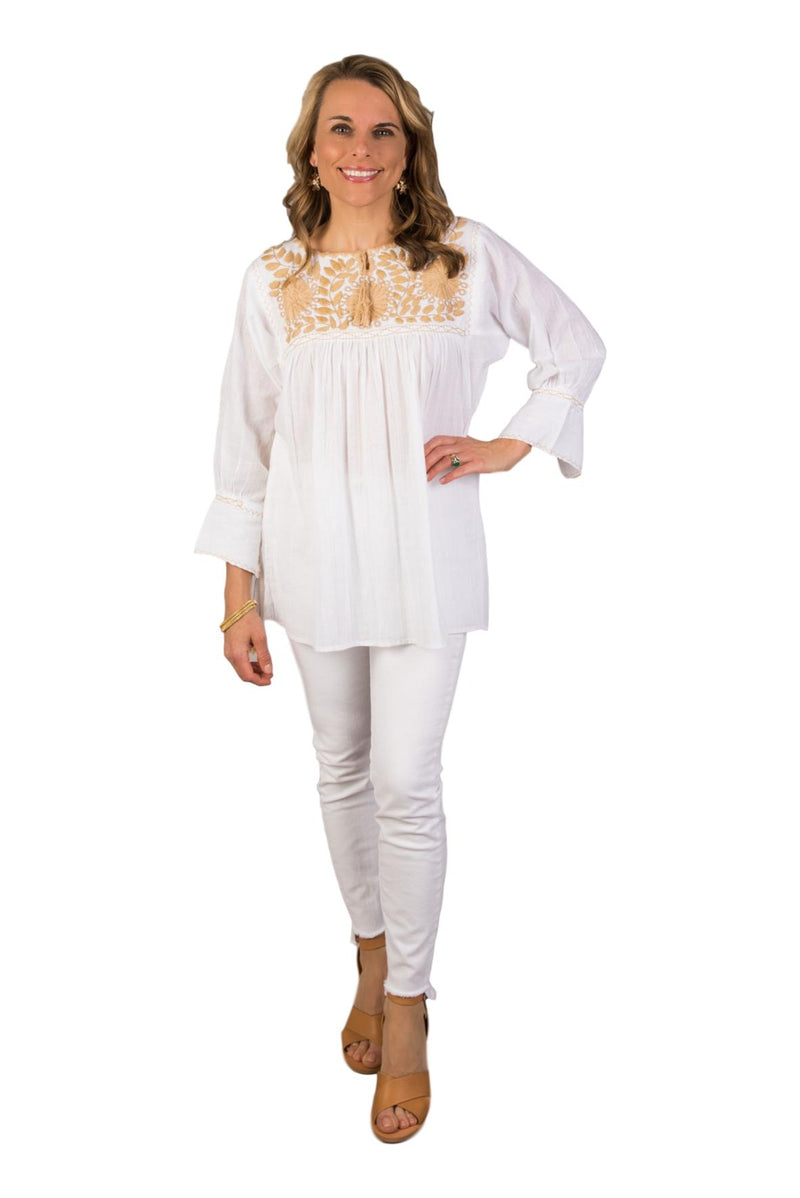 Girasole Mexican Blouse - White and Taupe