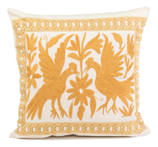"""Mateo"" Otomi Pillow, Maize Yellow Textile, Neutral Background Fabric"