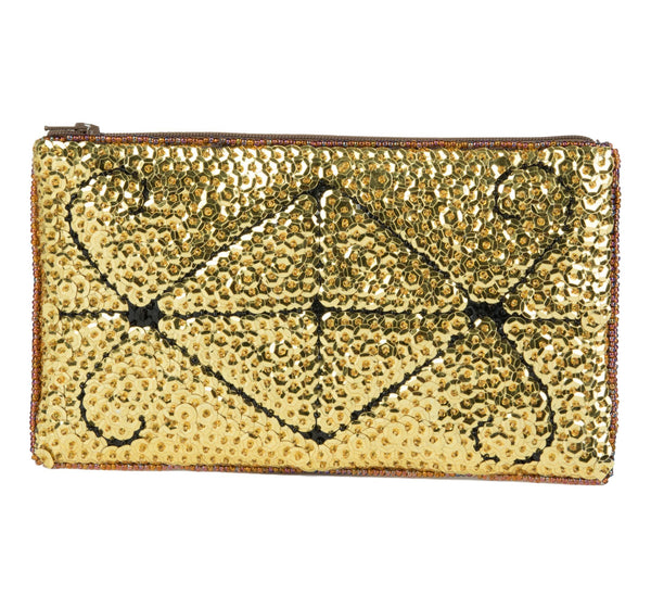 """Ayizan"" Beaded Evening Clutch in Gold and Black"
