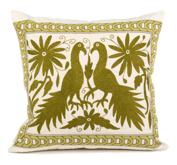 """Ignacio"" Otomi Pillow, Moss Green Textile, Neutral Fabric"