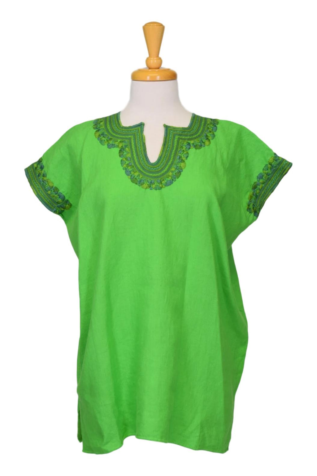 Kahlo Mexican Linen Blouse -  Green