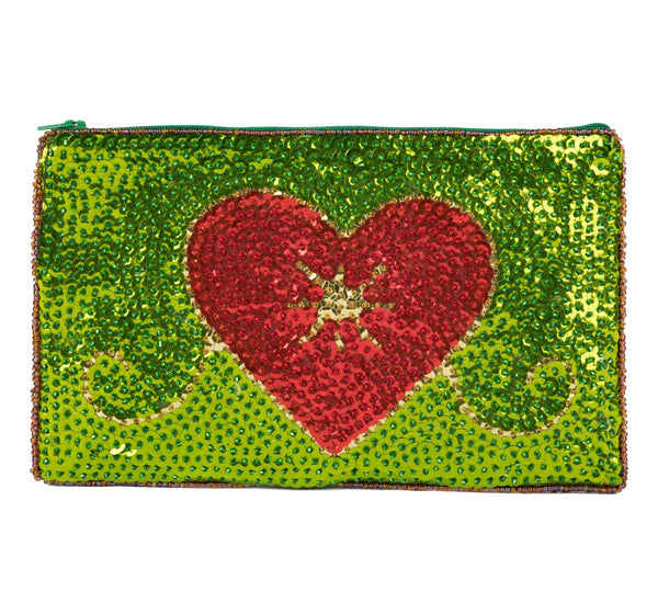 """Erzulie""Beaded Evening Clutch inRoyal Green, Red and Gold"