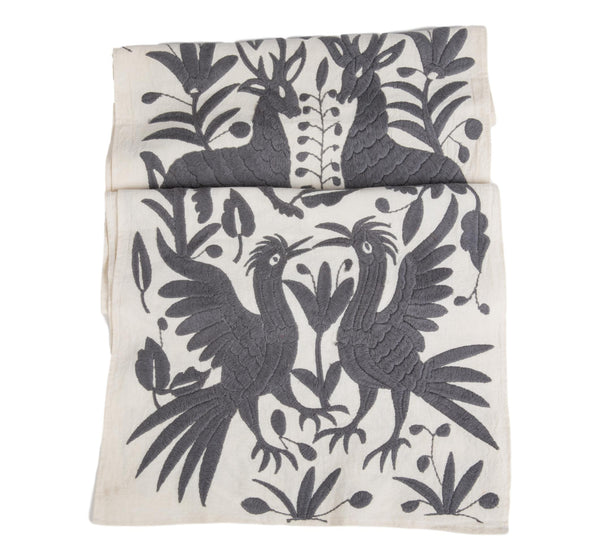 Otomi Table Runner, Grey and White