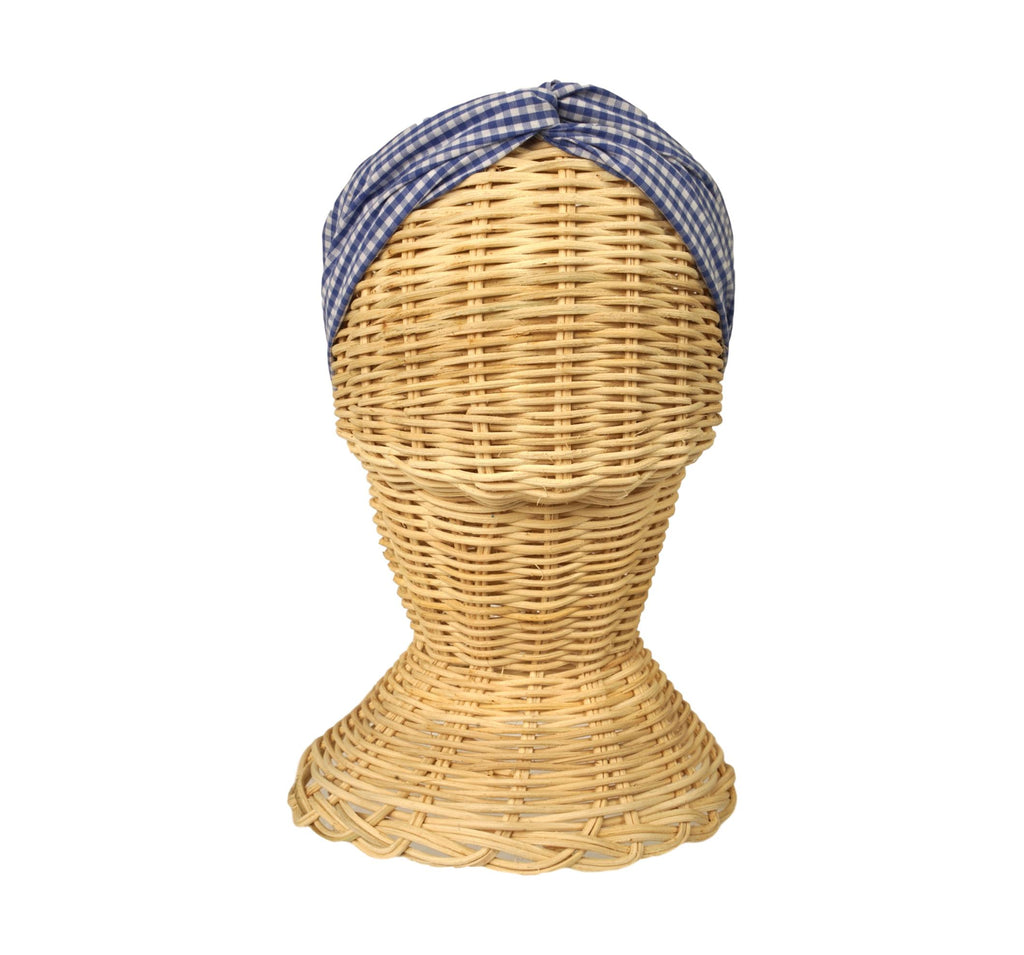 Headband + Mask Set- Blue Gingham