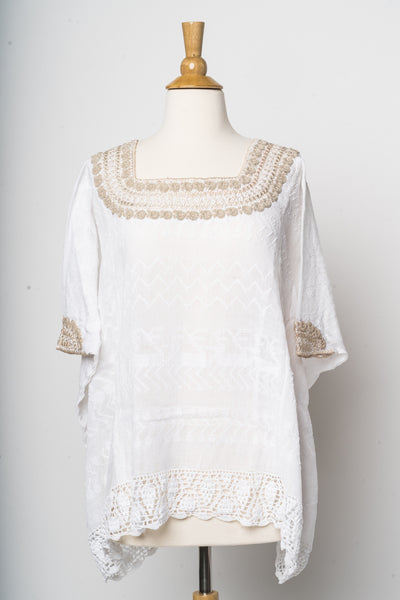 """Beatriz"" Guatemalan Blouse in Neutral Tones with Detailed Bottom Edge"