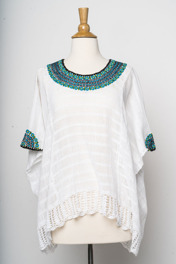 hand embroidered Guatemalan blouse white with turquoise and green embroidery on neck and arms