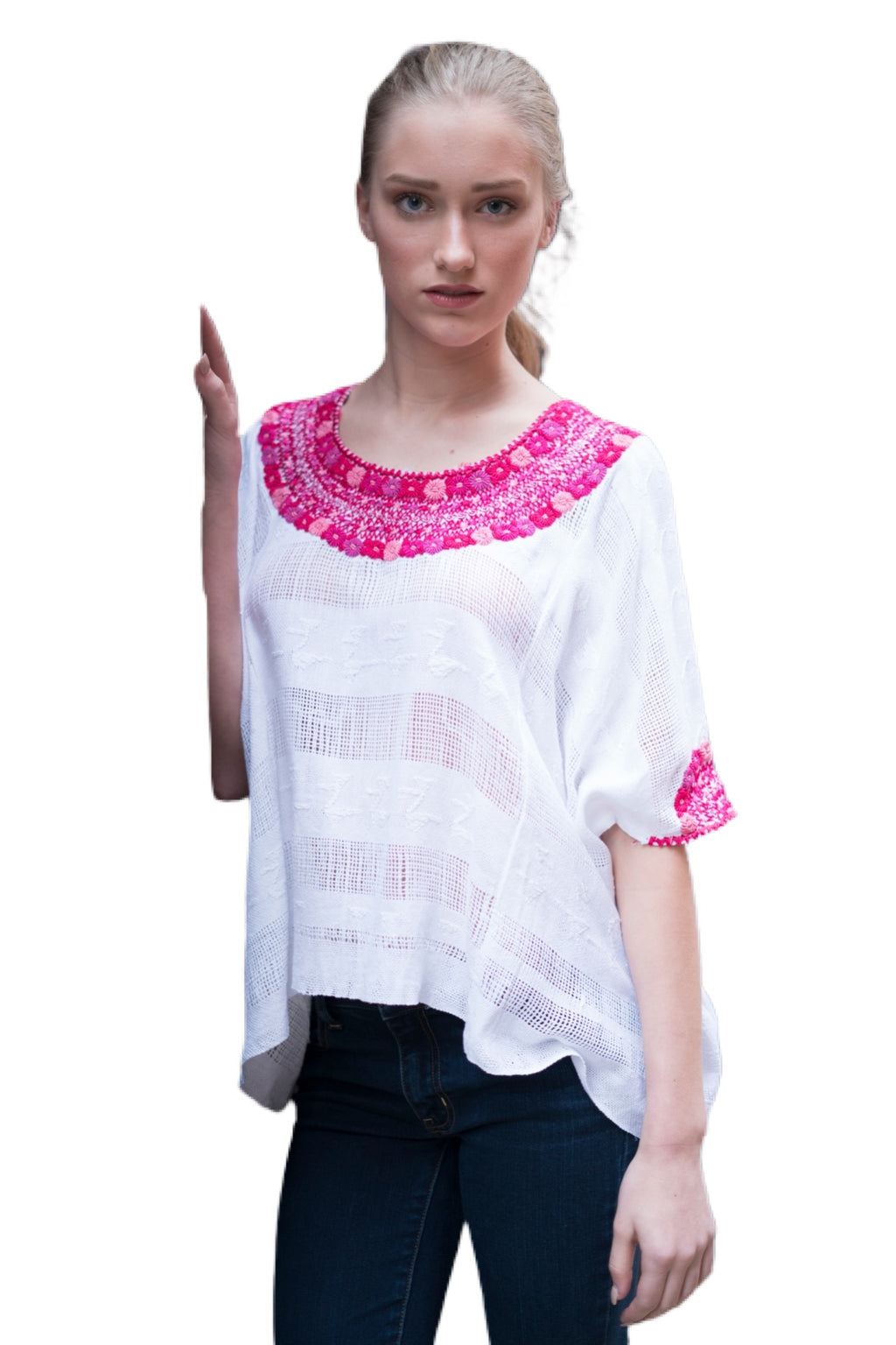 Evelyn Guatemalan Blouse - Pink