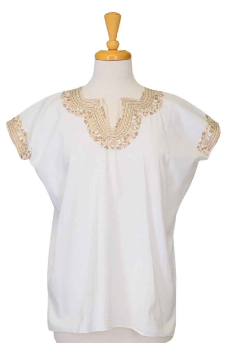 Kahlo Mexican Cotton Blouse - White and Taupe
