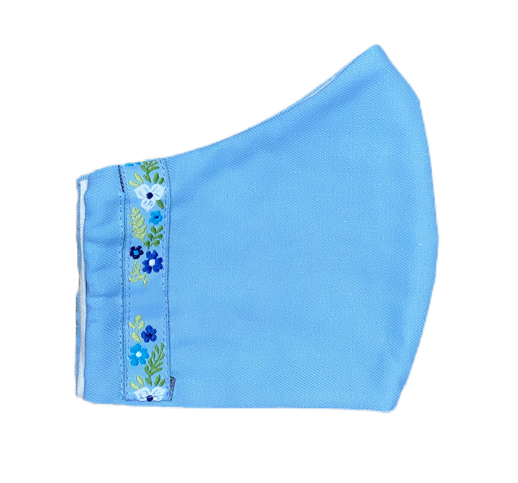 Fabric Face Mask - Light Blue - Twill - With Ribbon Trim