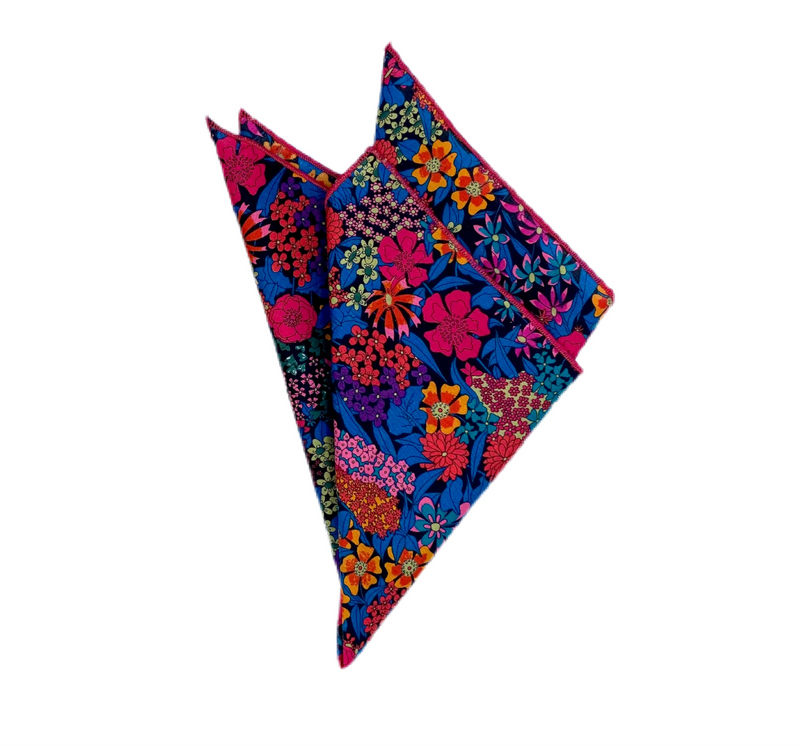Pocket Square - Liberty of London- Fuschia, Purple, Black, Teal, Orange