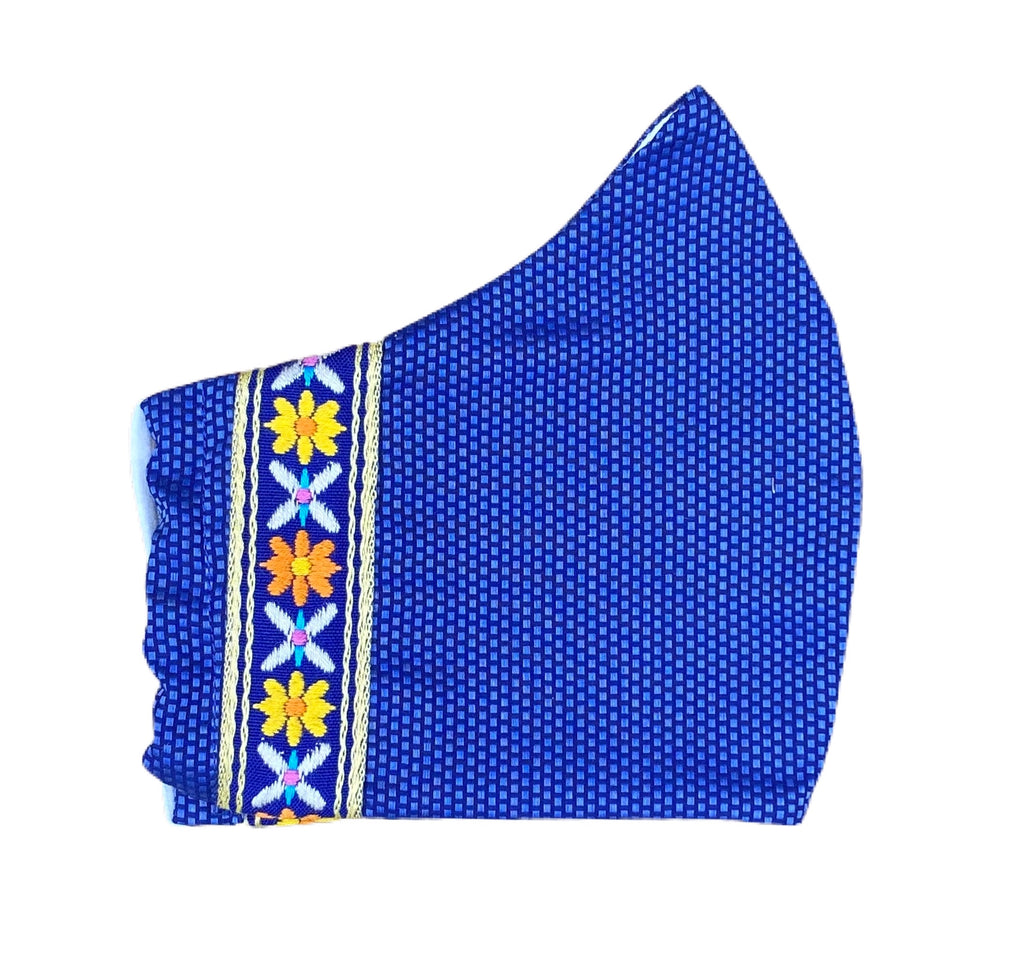 Fabric Face Mask - Royal Blue Piqué with Swedish Cotton Floral Ribbon Trim