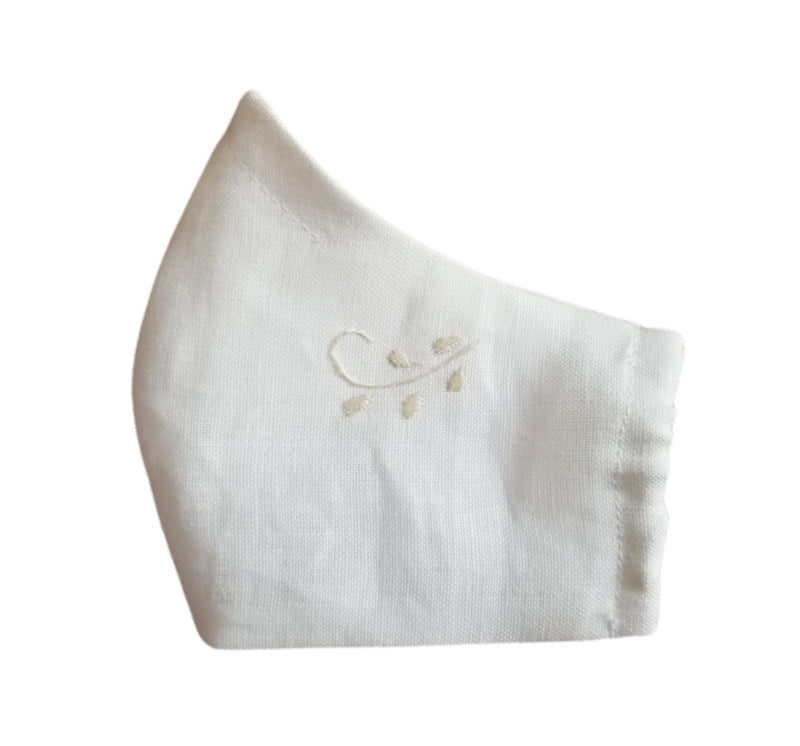 Hand-embroidered Linen Face Mask- White and Ivory