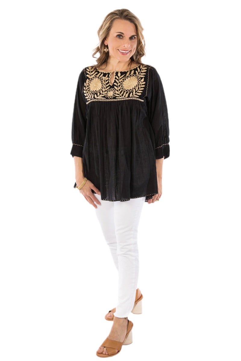 Girasole Mexican Blouse - Black