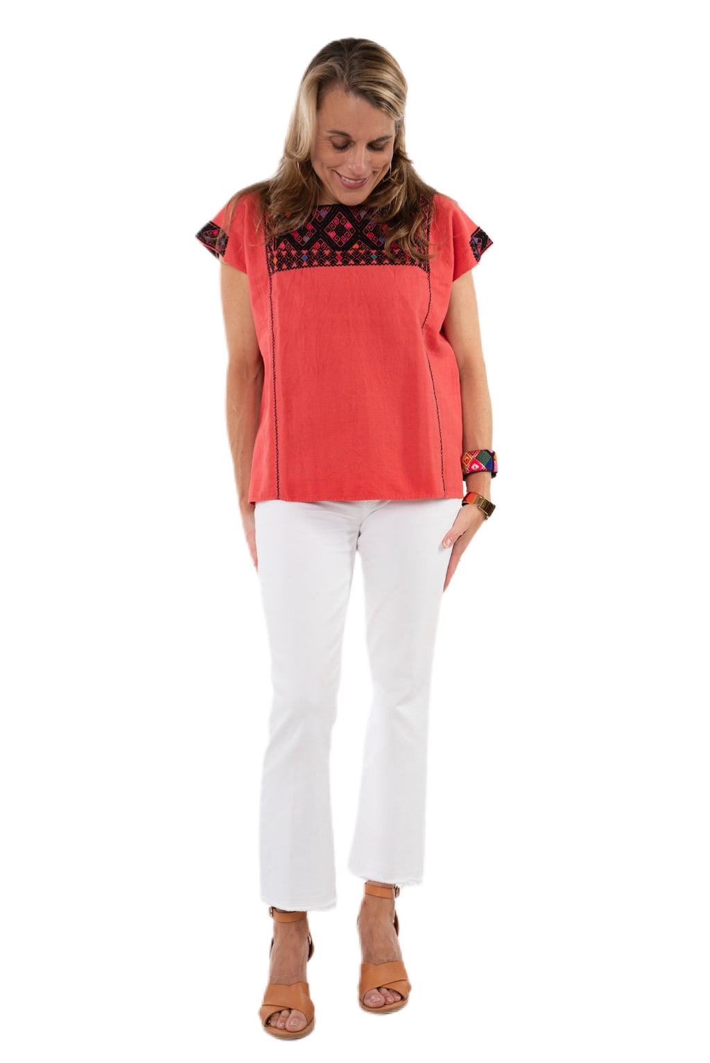 San Andres Mexican Blouse - Peach