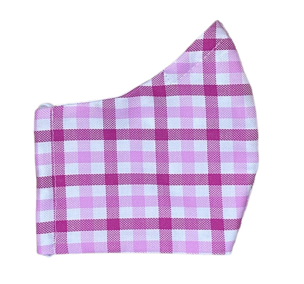 Fabric Face Mask - Tattersall Check- Berry, Pink, White
