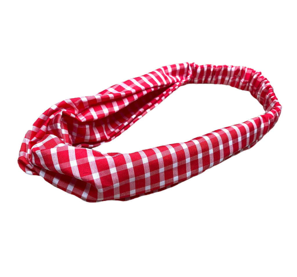 Helen Style Headband - Red and White Gingham/ Check