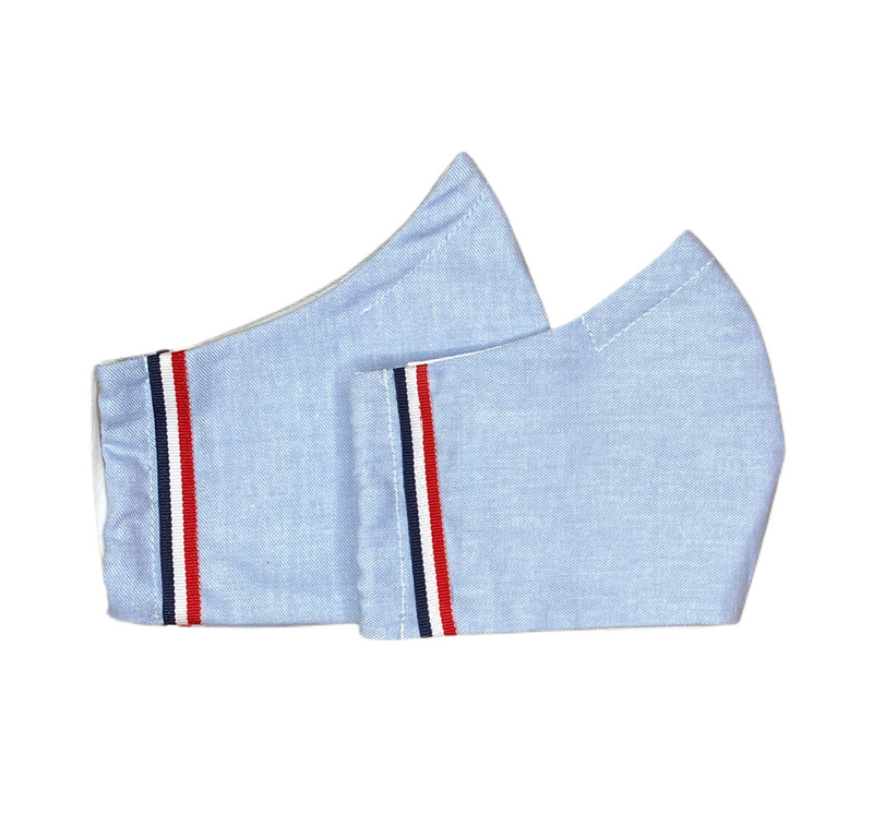 Fabric Face Mask -  Blue Oxford Cloth Shirting Fabric- With  Striped Ribbon Trim