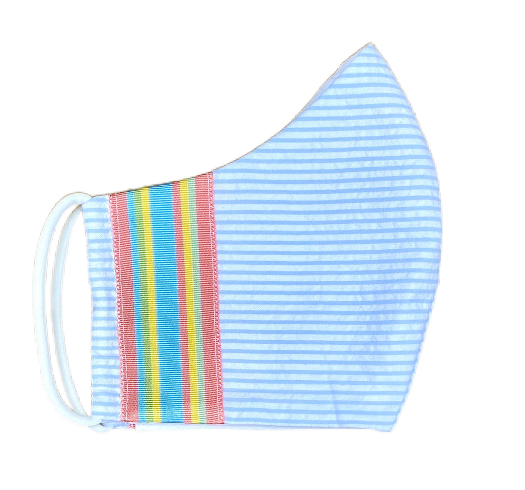 Fabric Face Mask - Light Blue Mini Seersucker Stripe with Grosgrain Ribbon Trim