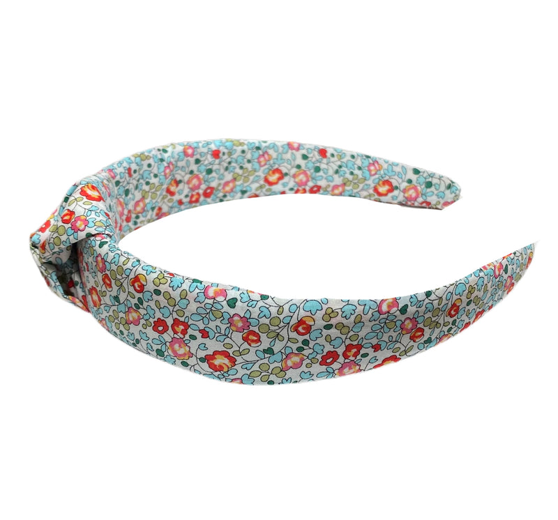 Liberty of London Knotted Headband - Turquoise, Coral, Tomato Red