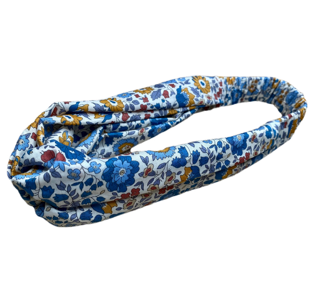 Helen Style Liberty of London Headband Blue, Mustard, Persimmon