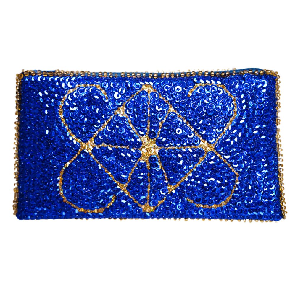 Ayizan Beaded Clutch- Royal Blue and Gold