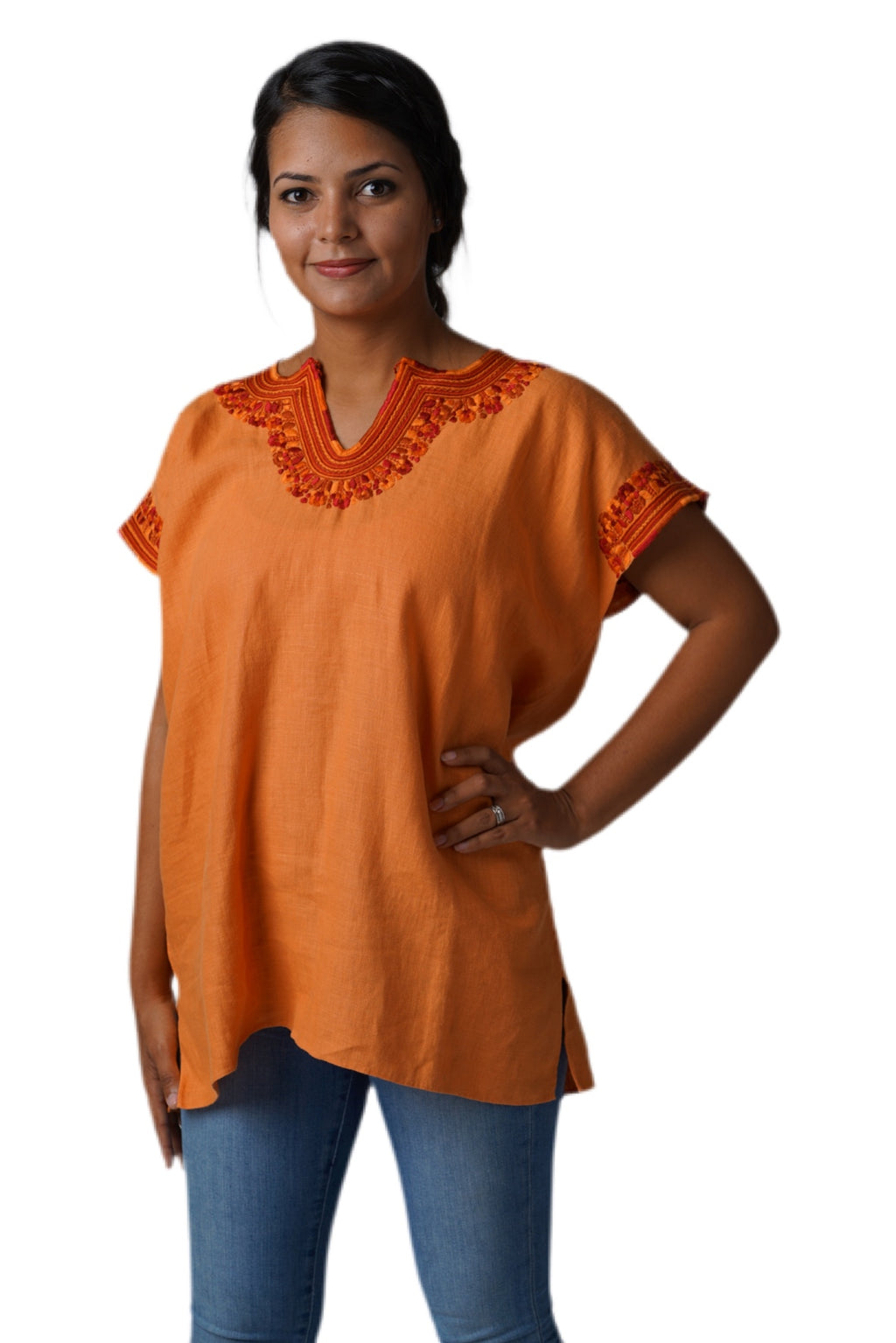 Kahlo Mexican Linen Blouse -  Orange