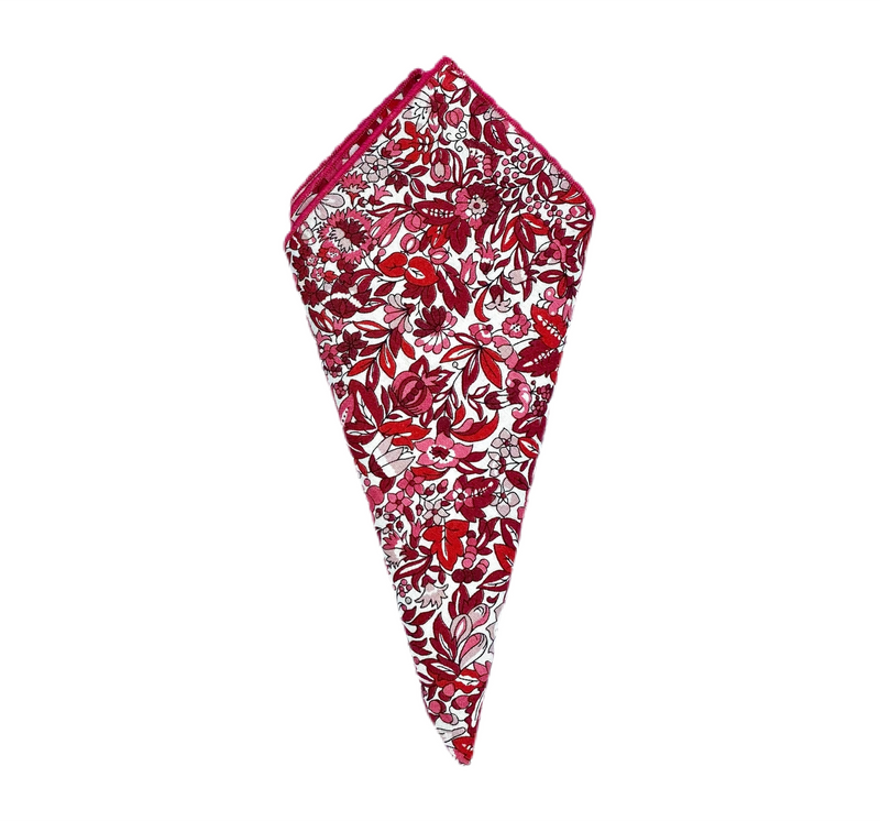 Pocket Square - Liberty of London- Red, Pink, Winter White