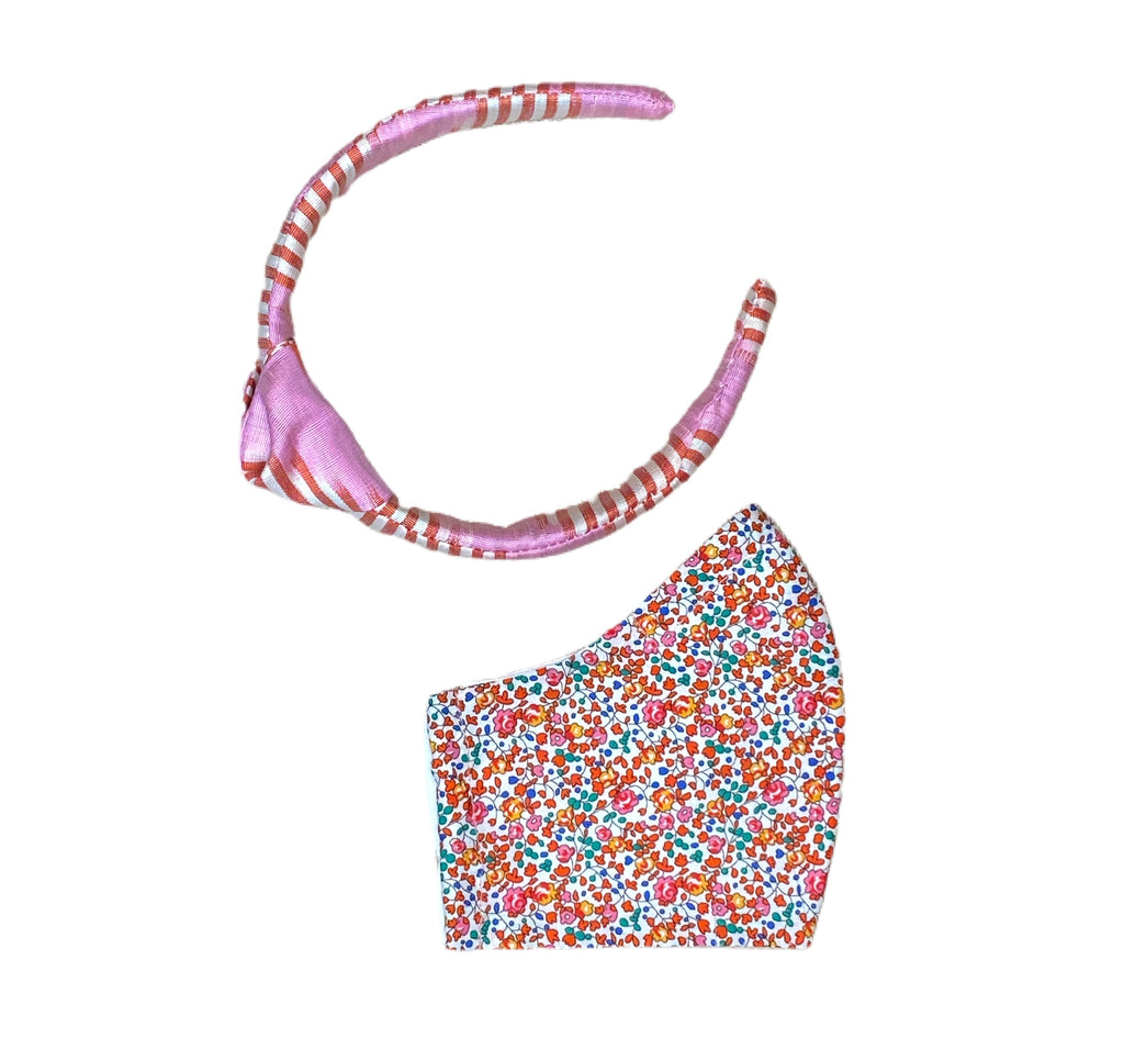 Headband + Face Mask Gift Set, Silk Ikat Headband, Liberty of London Mask